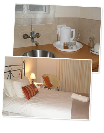 Alte-Welkom Bed and Breakfast Guesthouse in Klerksdorp, South Africa, showing bathroom and bedrooms.